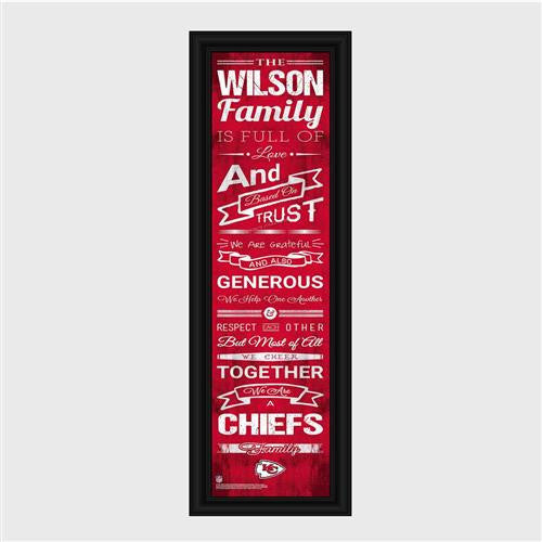 Personalized NFL Family Cheer Print & Frame - Chiefs-Art-Here Comes The Bling™