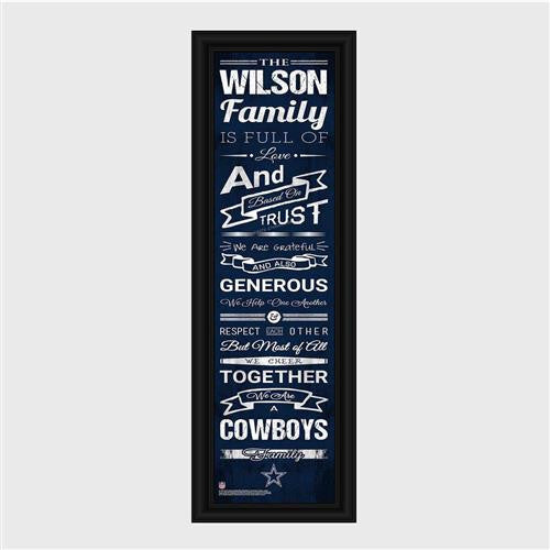 Personalized NFL Family Cheer Print & Frame - Cowboys-Art-Here Comes The Bling™