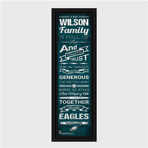 Personalized NFL Family Cheer Print & Frame - Eagles-Art-Here Comes The Bling™