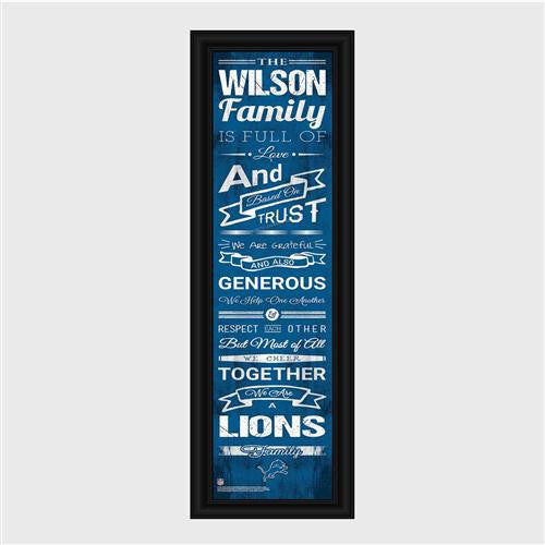 Personalized NFL Family Cheer Print & Frame - Lions-Art-Here Comes The Bling™