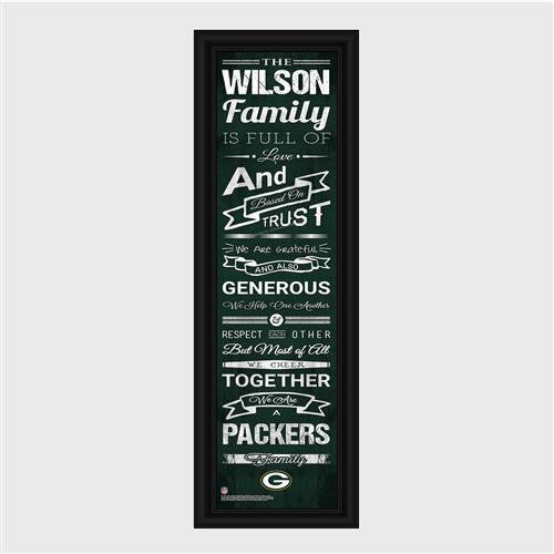 Personalized NFL Family Cheer Print & Frame - Packers-Art-Here Comes The Bling™