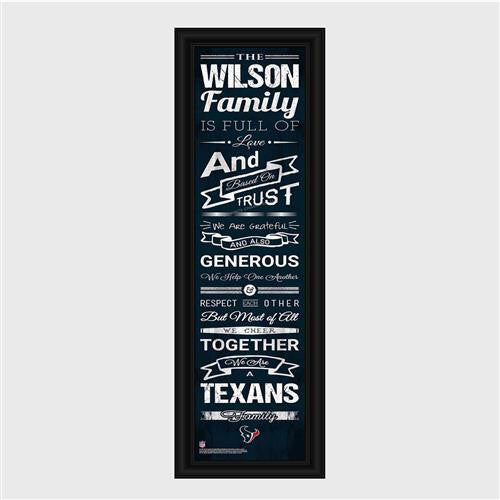Personalized NFL Family Cheer Print & Frame - Texans-Art-Here Comes The Bling™