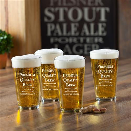 Personalized Pint Glasses Set of 4-Pint Glass-Here Comes The Bling™