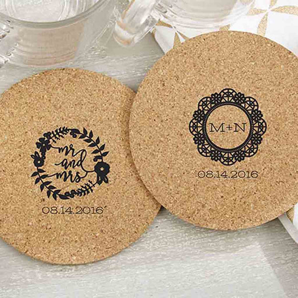 "Personalized Round Cork Coasters- ""Romantic Garden"" (Set of 36)-Favors-Coasters-Here Comes The Bling™"