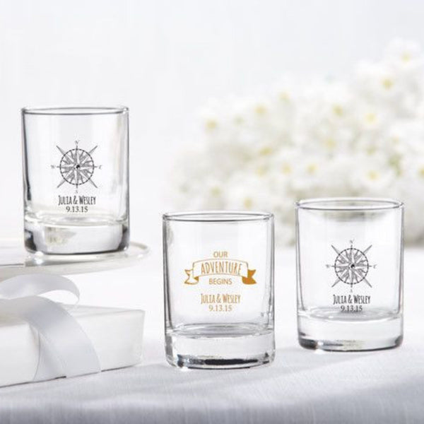 """Travel and Adventure"" Personalized Shot Glass/Votive Holders (Set of 36)"