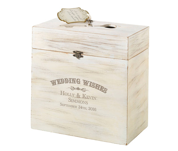 Personalized Wedding Wishes Wooden Key Card Box-Card Box-Here Comes The Bling™