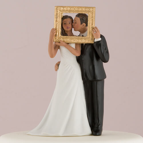 """Picture Perfect"" Cake Topper Couple with Medium Skin Tone ( Select From 7 Hair Colors )-Cake Toppers-Here Comes The Bling™"