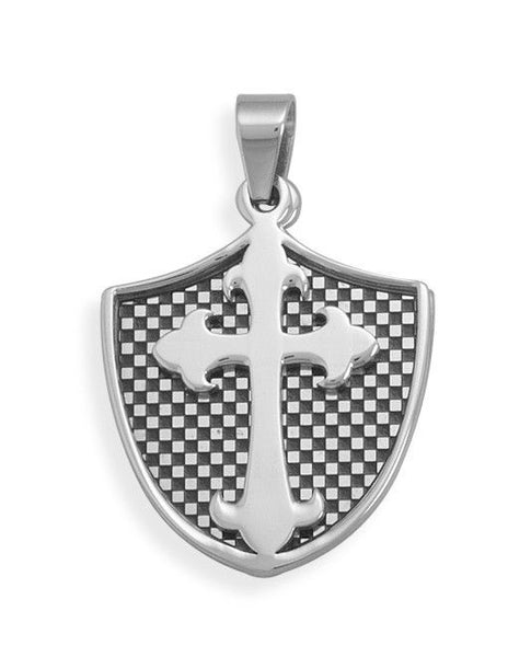Piece Shield and Cross Pendant-Mens-Necklaces-Here Comes The Bling™