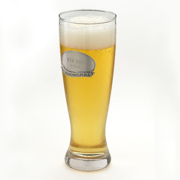 Pilsner w/Pewter Medallion-Pilsner Glass-Here Comes The Bling™