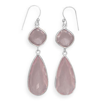 Pink Amethyst and Rose Quartz Drop Earrings-Earrings-Here Comes The Bling™