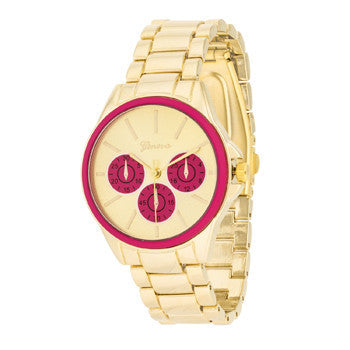 Pink Chrono Gold Metal Watch-Watches-Here Comes The Bling