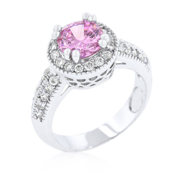 Pink Halo Engagement Ring-Rings-Here Comes The Bling™