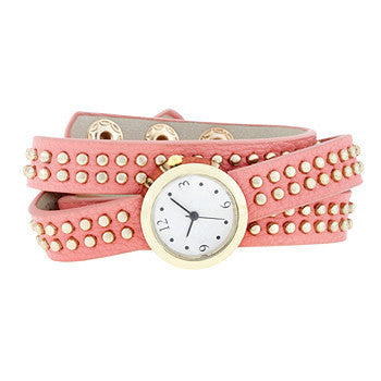 Pink Mini Studded Wrap Watch-Watches-Here Comes The Bling