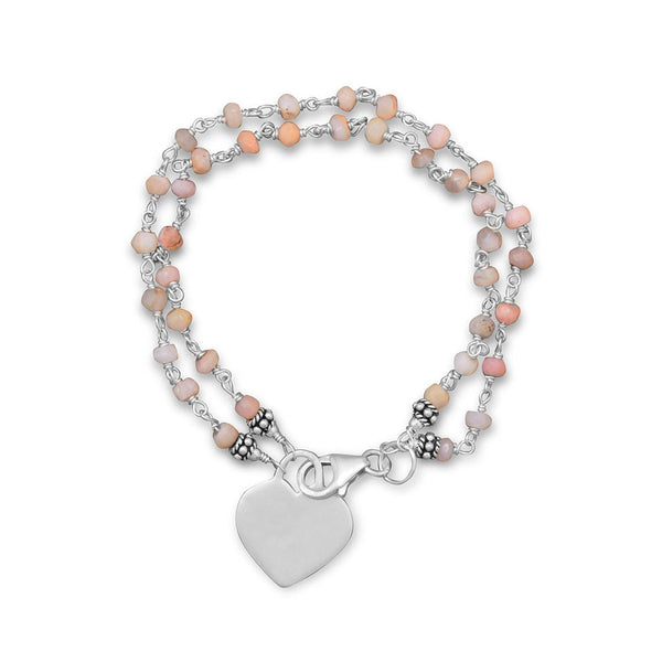 Pink Opal Bracelet with Engravable Heart Tag-Bracelets-Here Comes The Bling™