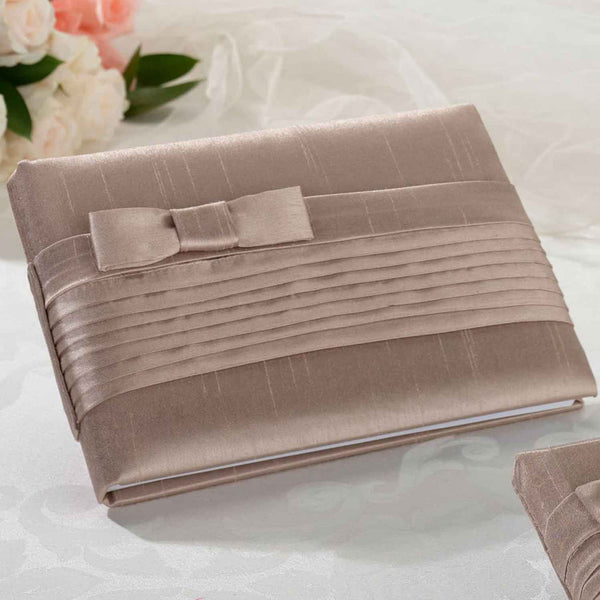 Pleated Silk Guest Book in Taupe-Guest Books-Here Comes The Bling™