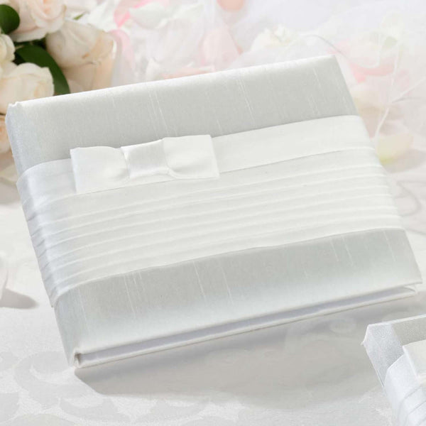 Pleated Silk Guest Book in White-Guest Books-Here Comes The Bling™
