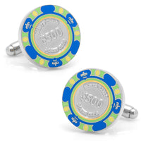 Poker Chip Cufflinks Blue-$500-Cufflinks-Here Comes The Bling‰̣ۡå¢