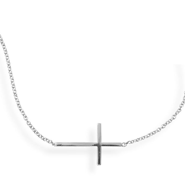 Polished Rhodium Sideways Cross Bar-Bracelet-Bracelets-Here Comes The Bling™