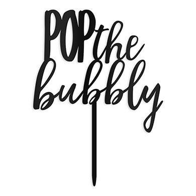 """Pop The Bubbly"" Cake Topper in Black-Cake Toppers-Here Comes The Bling™"