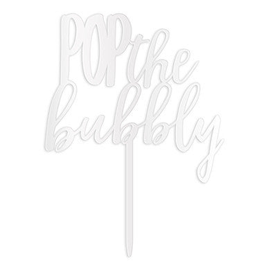 """Pop The Bubbly"" Cake Topper in White-Cake Toppers-Here Comes The Bling™"