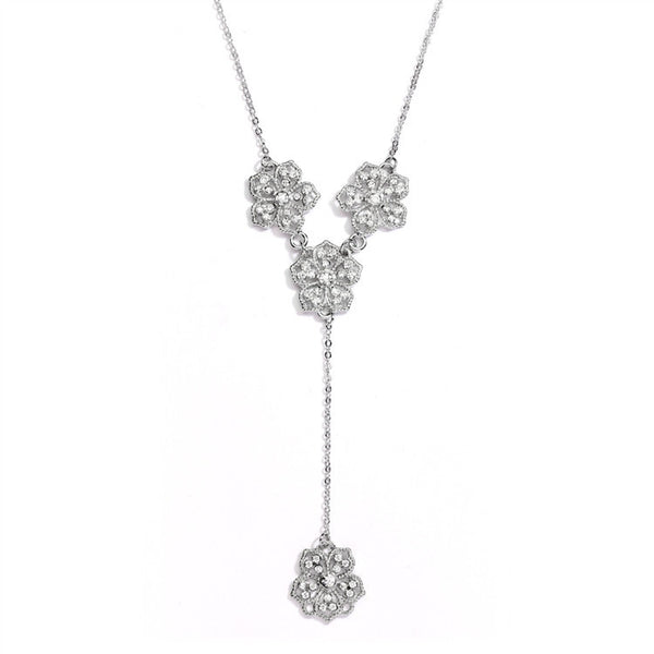 "Popular Crystal Silver Filigree Flowers ""Y"" Necklace for Prom, Brides or Bridesmaids-Necklaces-Here Comes The Bling™"