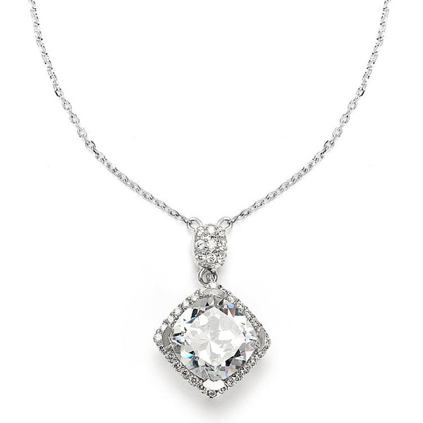 Popular Micro Pave CZ Cushion Cut Wedding Necklace-Necklaces-Here Comes The Bling™