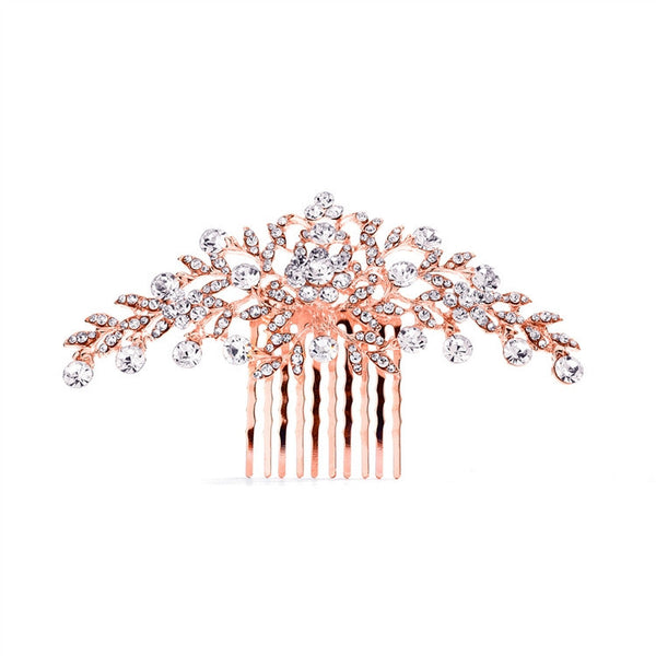 Popular Rose Gold Crystal Wedding or Prom Comb with Shimmering Leaves-Combs-Here Comes The Bling™