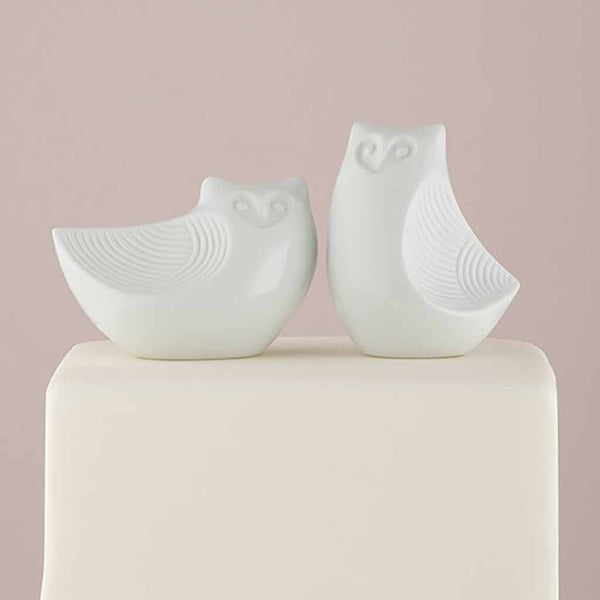 Porcelain Owl Pair Figurines Cake Topper-Cake Toppers-Here Comes The Bling™