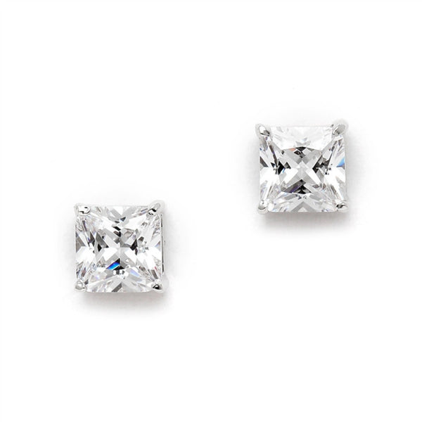 Princess Cut Cubic Zirconia 1.25 Ct. Stud Earrings for Weddings or Bridesmaids-Earrings-Here Comes The Bling™