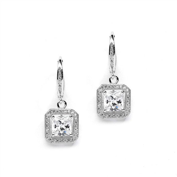 Princess Cut CZ Dangle Earrings in Deco Style-Earrings-Here Comes The Bling™