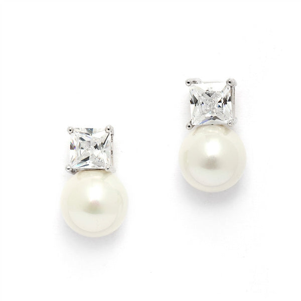 Princess Cut CZ Stud Bridal Earrings with Bold Soft Cream Pearl-Earrings-Here Comes The Bling™