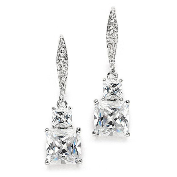 Princess Cut CZ Vintage Wedding or Bridesmaids Drop Earrings-Earrings-Here Comes The Bling™