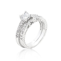 Princess Cut Filigree Bridal Ring Set-Rings-Here Comes The Bling™
