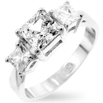 Princess Cut Triplet Anniversary Ring-Rings-Here Comes The Bling™