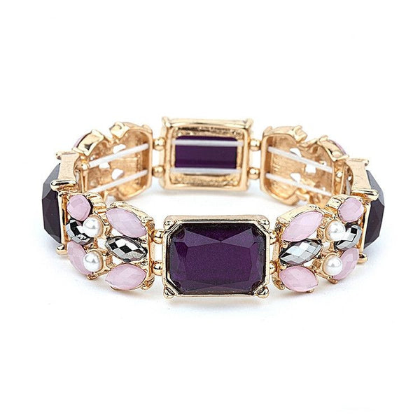 Purple Mixed Stone Stretch Prom Bracelet-Bracelets-Here Comes The Bling™
