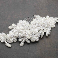 Top Selling Ivory Beaded Lace Applique Wedding Comb
