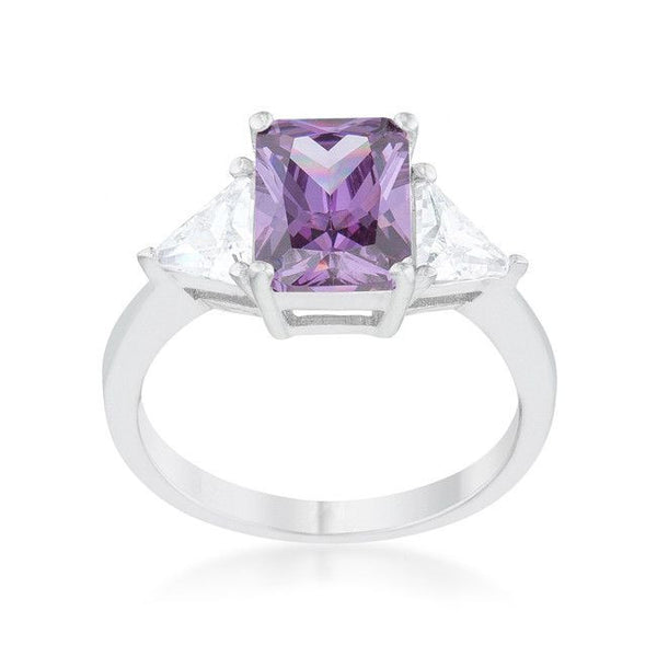 Radiant Cut Amethyst Purple Sapphire and CZ Rhodium Ring-Rings-Here Comes The Bling™
