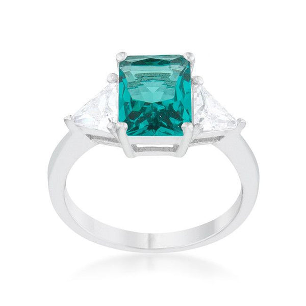 Radiant Cut Aqua Sapphire and CZ Rhodium Ring-Rings-Here Comes The Bling™