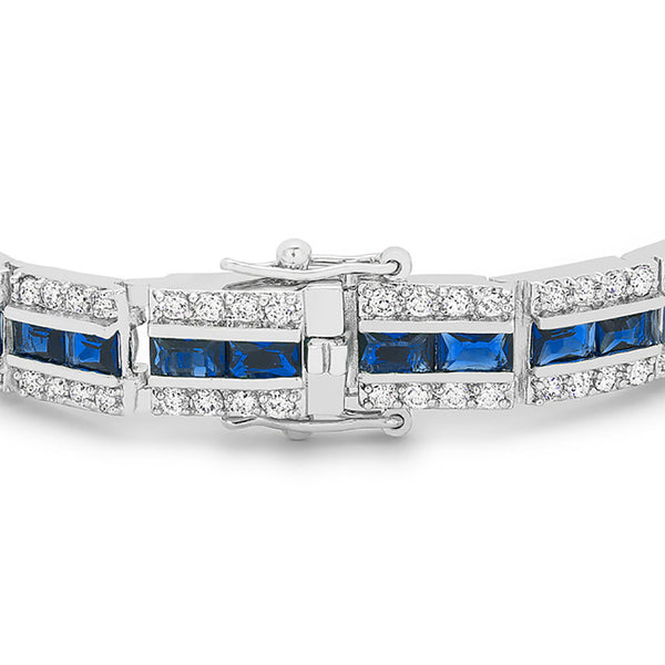 Radiant Cut Blue Cubic Zirconia Tennis Bracelet-Bracelets-Here Comes The Bling