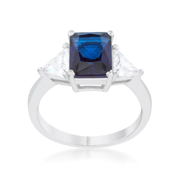 Radiant Cut Blue Sapphire and CZ Rhodium Ring-Rings-Here Comes The Bling™