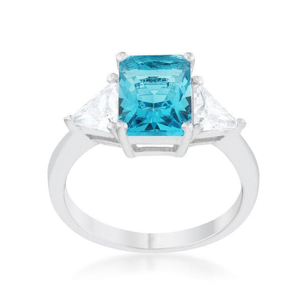 Radiant Cut Blue Topaz Sapphire and CZ Rhodium Ring-Rings-Here Comes The Bling™