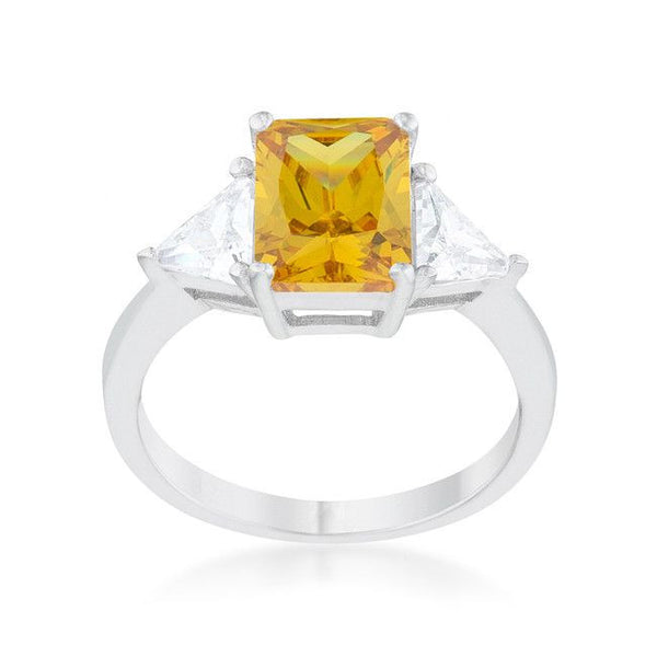 Radiant Cut Canary Yellow Sapphire and CZ Rhodium Ring-Rings-Here Comes The Bling™