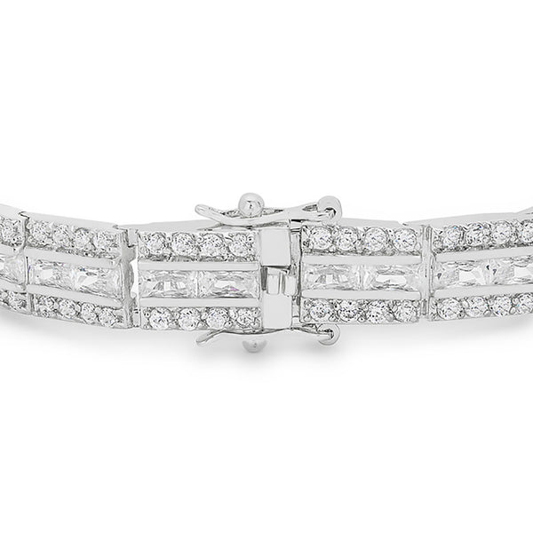 Radiant Cut Clear Cubic Zirconia Tennis Bracelet-Bracelets-Here Comes The Bling