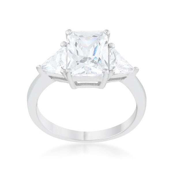 Radiant Cut Clear Sapphire and CZ Rhodium Ring-Rings-Here Comes The Bling™