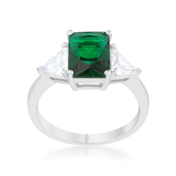 Radiant Cut Emerald Green Sapphire and CZ Rhodium Ring-Rings-Here Comes The Bling™