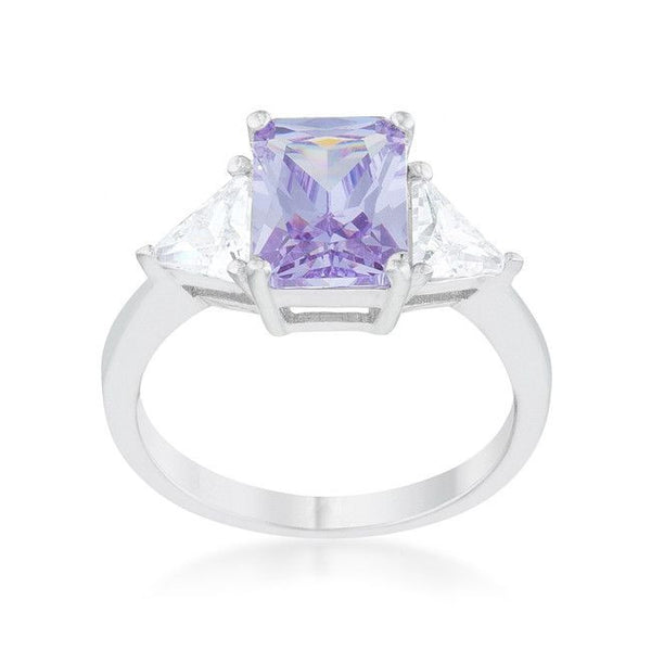 Radiant Cut Lavender Sapphire and CZ Rhodium Ring-Rings-Here Comes The Bling™