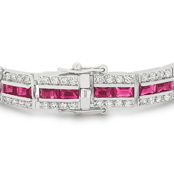Radiant Cut Red Cubic Zirconia Tennis Bracelet-Bracelets-Here Comes The Bling