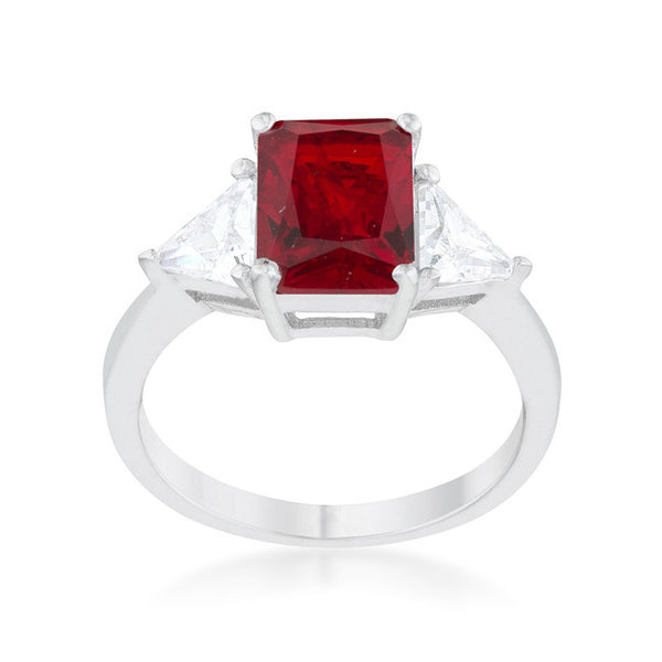 Radiant Cut Ruby Red Sapphire and CZ Rhodium Ring-Rings-Here Comes The Bling™