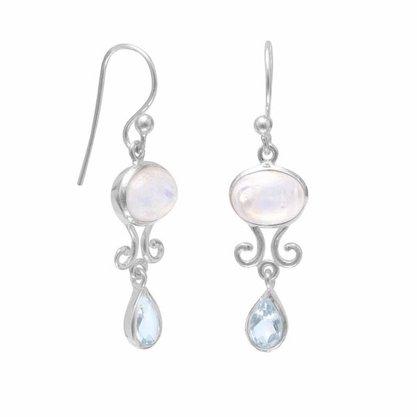 Rainbow Moonstone and Blue Topaz Drop Earrings-Earrings-Here Comes The Bling™