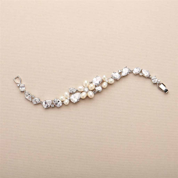 Ravishing Daisy Pearl and CZ Statement Bracelet-Bracelets-Here Comes The Bling™